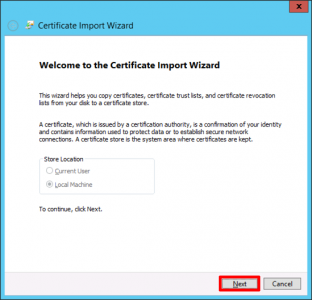 Cert Import Wizard