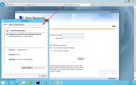 RDWeb Certificate Check