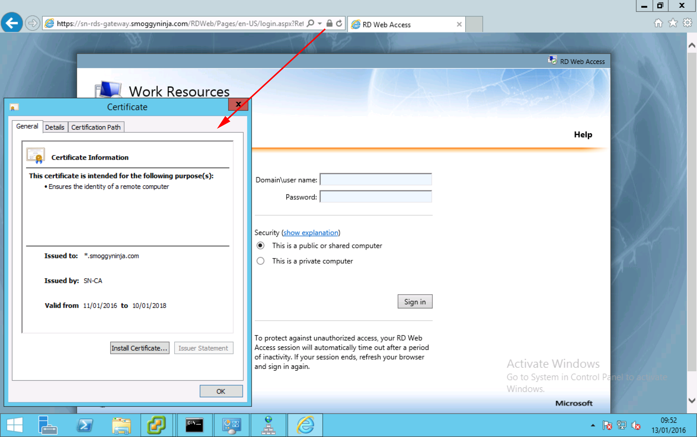 Windows server 2012 r2 deploying remote desktop services rdweb certificate check xflitez Gallery