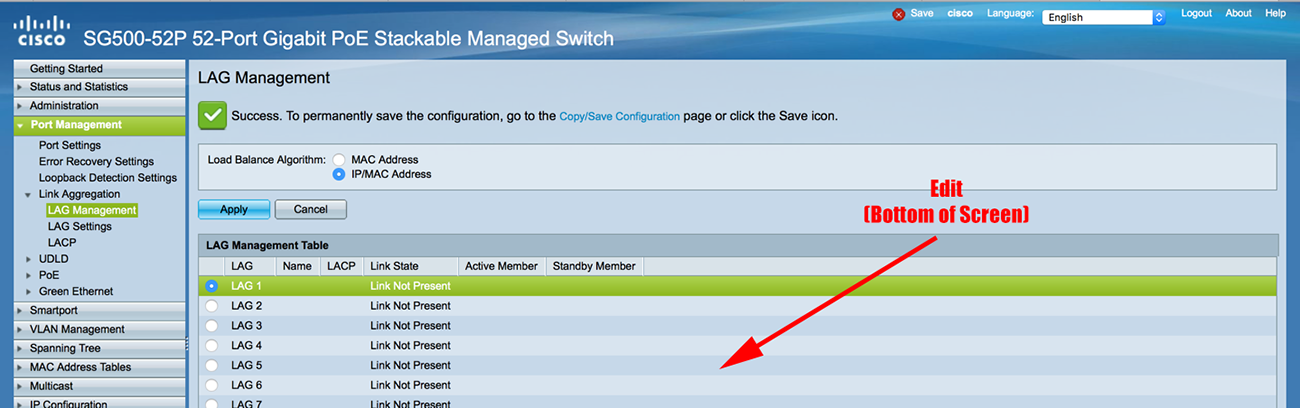 Cisco Small Business (SG500) Link Aggregation (LAG) With