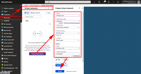 Create Azure Virtual Network and Subnet VPN