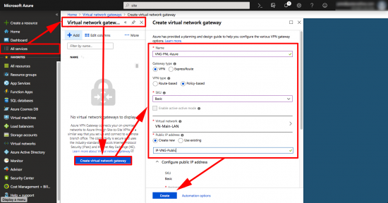 Create Azure Virtual Network Gateway VPN