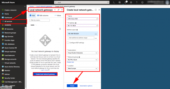 Create Azure Local Security Gateway