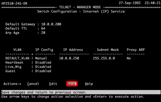 HP - Switches The IP (or subnet) Already Exists | PeteNetLive