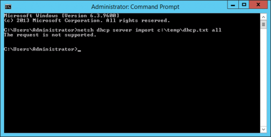 Import DHCP The Request is not supported