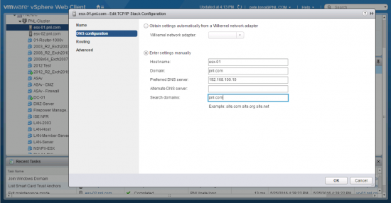 ESXi6 Domain and DNS Details