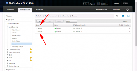 Add Web Servers to Netscaler