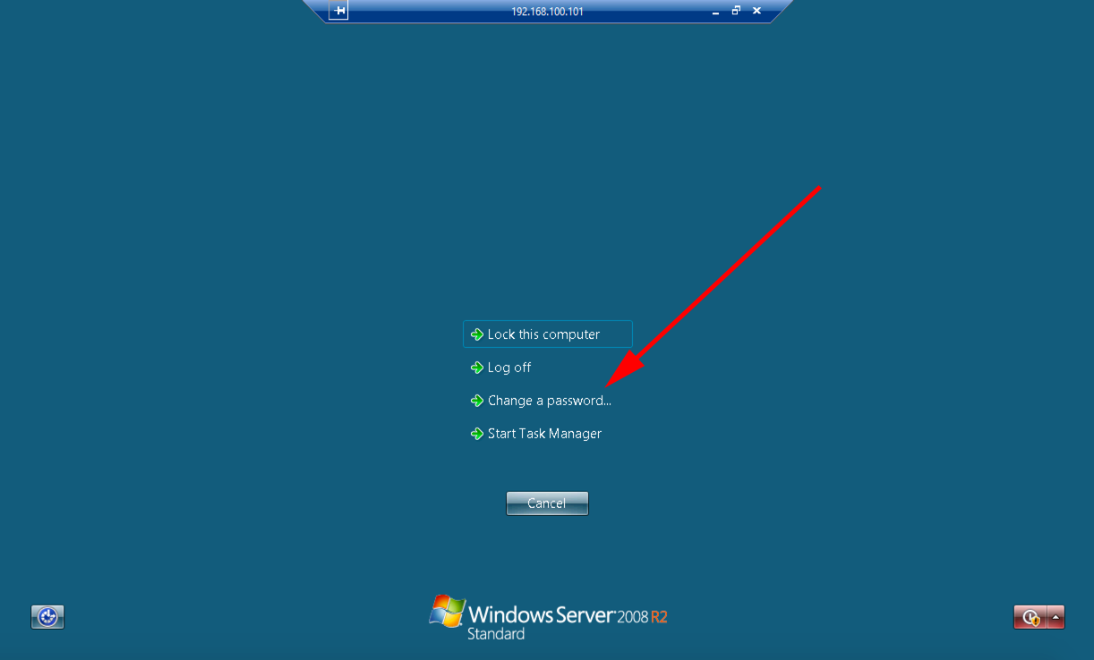change password on windows server 2012