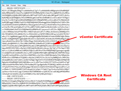 vCenter Certificate CER chain