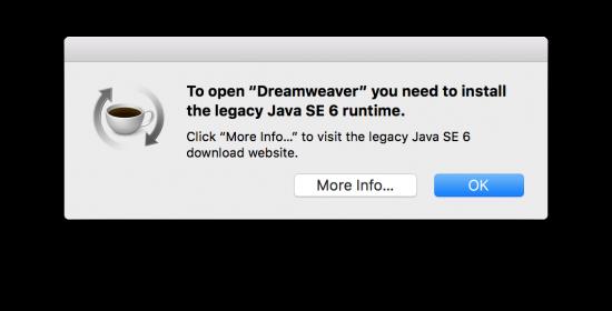 Dreamweaver Needs Java