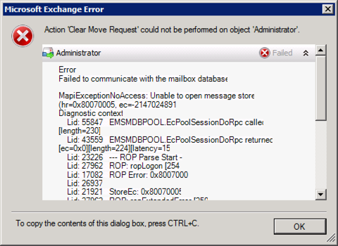 Exchange - Cannot Delete Mailbox Move Request | PeteNetLive