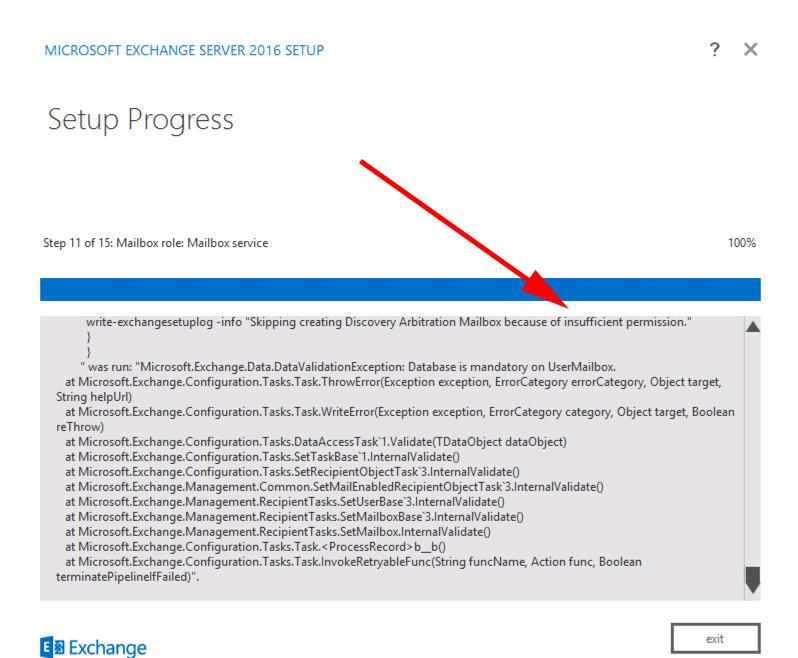 Exchange 2013 - Setup Error: Database is mandatory on ...