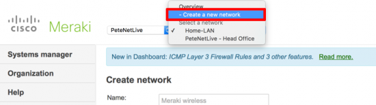 Meraki - Create Network