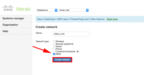 Meraki - Create MDM Network