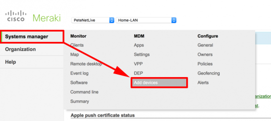 Meraki - MDM Add Devices