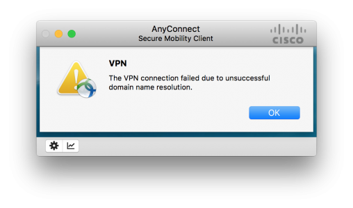VPN unsuccessful doman name resolution