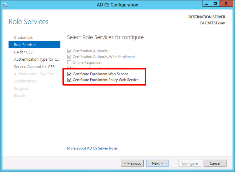 Install and Configure Certificate Enrolment Policy Web Service
