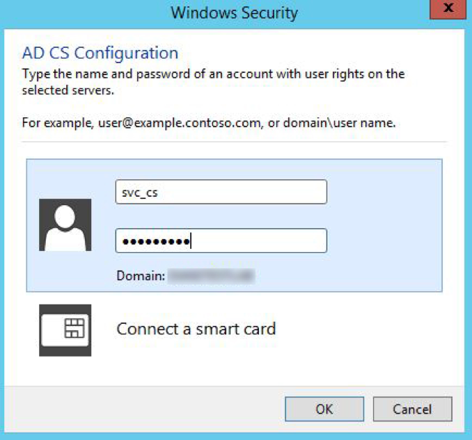ADCS - Login Failure: The user has not been granted the