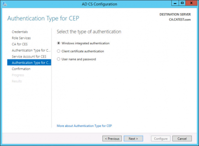 CEP Authentication Type