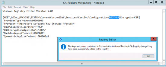 Merge Into Registry RSA