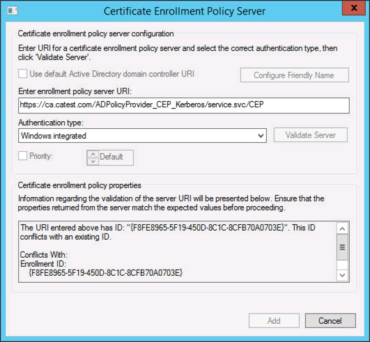 Certificate Enrolment - URI This ID conflicts with an Existing ID