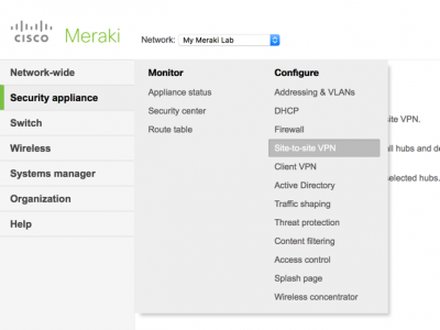 Meraki Site To Site VPN
