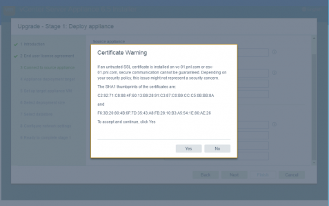 vCenter Certificate warning