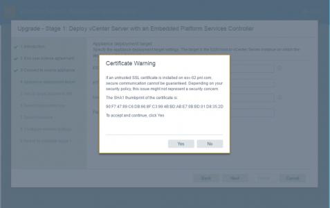 ESX Certificate Error