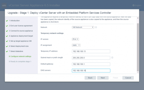 vCenter IP Settings