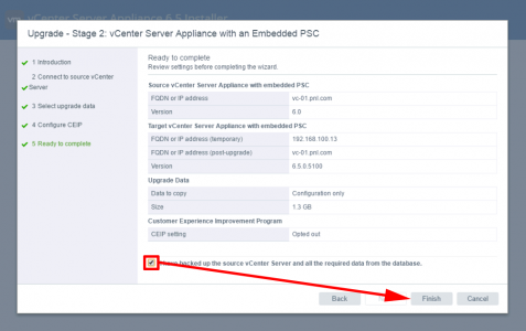 Migrate vCenter Appliance to Version 6.5