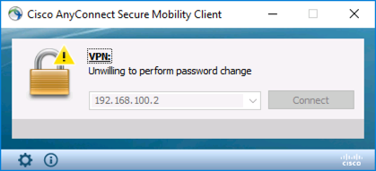 Unwilling to perform password change