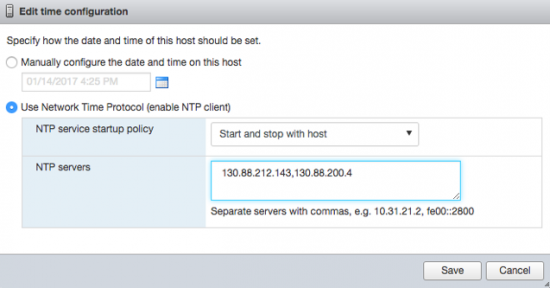 Change NTP Settings ESX