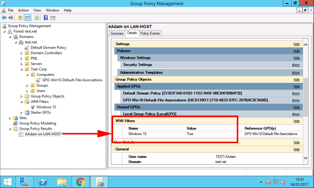 Windows 10 Create a WMI Filter for Group Policy | PeteNetLive