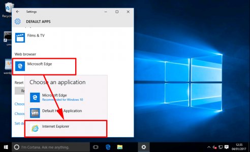 Windows 10 Set IE Default
