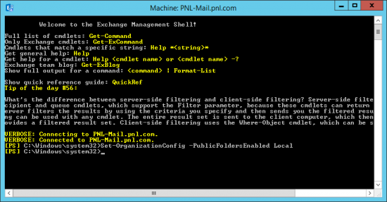 Set Public Folders via PowerShell