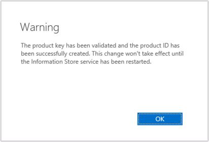 Product Key Warning