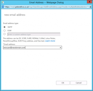 Exchange 2016 Additional Email Addresses