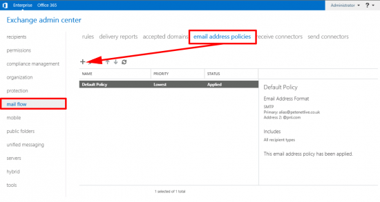 Exchange 2016 Address Policies