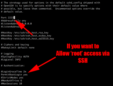 Change SSH Port and Allow Root