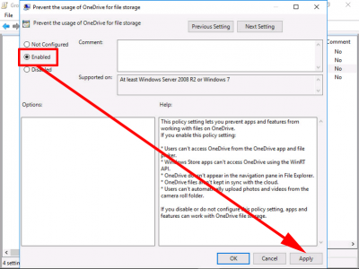 Block OneDrive with Group Policy