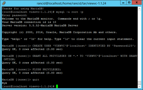 Configure MariaDB for ViewVC