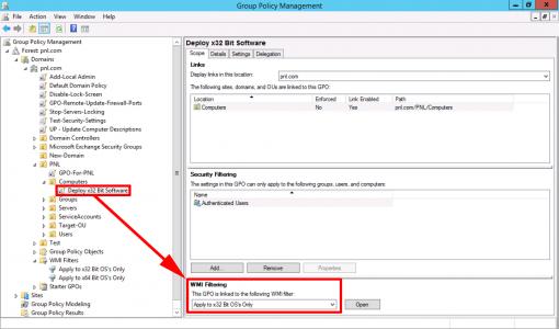 Apply x32 Bit WMI Filter