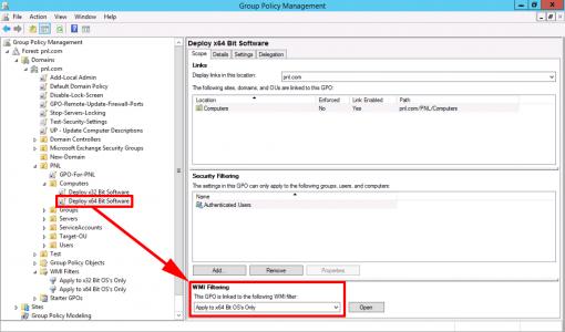Apply x64 Bit WMI Filter