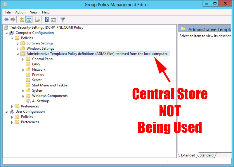 Setup up a Central 'PolicyDefinitions' Store (for ADMX files