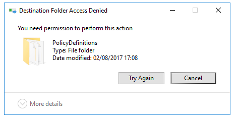 PolicyDefinitions Access Denied