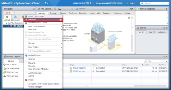 vCenter Appliance Add Host to a Cluster