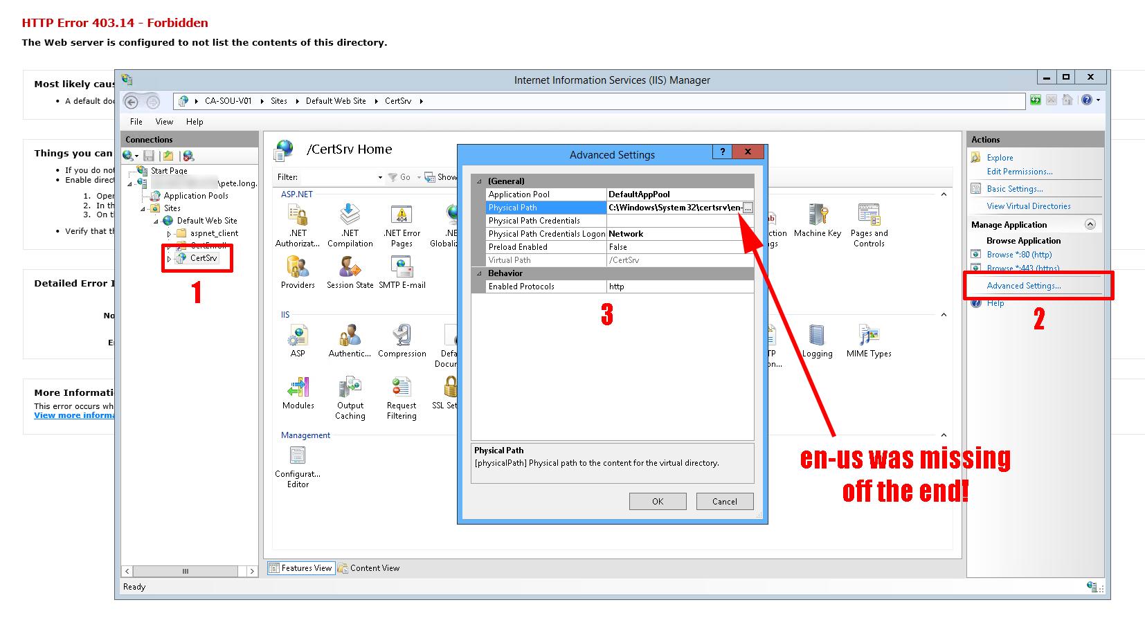 Windows Certificate Services 'certsrv' Website displays