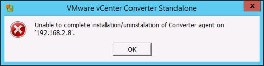 Cannot install vmware converter agent