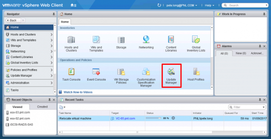 vSphere Web Client Update Manager