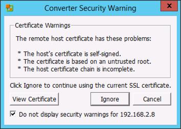 VMware Converter Certificate Error